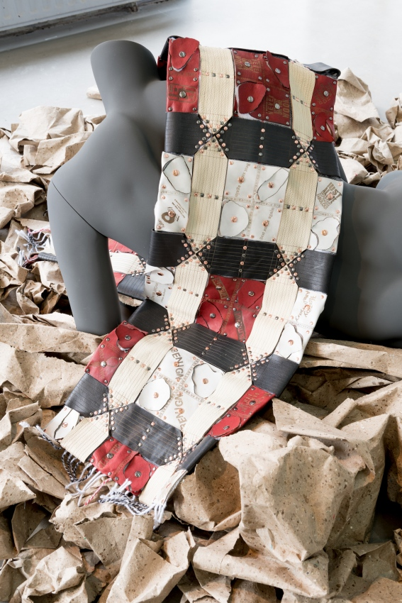 ∞ I'm Legend Dummies (Sanshi) ∞ ∞ Laser cut/etched leather, metal studs, scarf, mannequin, paper ∞
